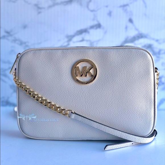 Details about Michael Kors Fulton Large Vanilla Signature Convertible Shoulder Bag Top Zip NWT